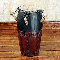 Wood kpanlogo drum, 'Diamond Rhythms' - Hand Made Wood Kpanlogo Drum in Red and Black from Ghana