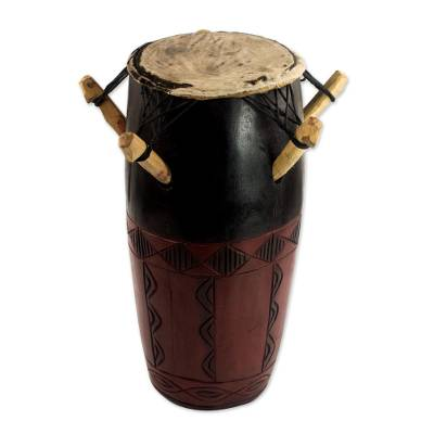 Hand Made Wood Kpanlogo Drum in Red and Black from Ghana