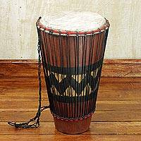 Wood bougarabou drum, 'Homeland' - Hand Carved Tweneboa Wood Bougarabou Drum from Ghana