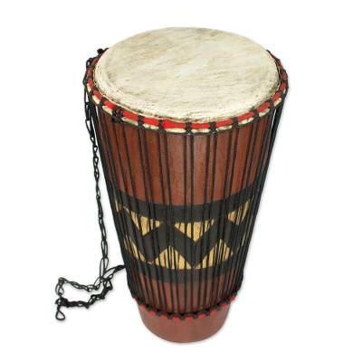 Hand Carved Tweneboa Wood Bougarabou Drum from Ghana, 'Homeland'