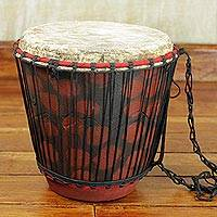 Wood bongo drum, 'Rhythm of Africa' - Hand Crafted Tweneboa Wood Bongo Drum from Ghana