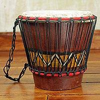 Wood bongo drum, 'Heartbeat' - Hand Carved Tweneboa Wood Bongo Drum from Ghana