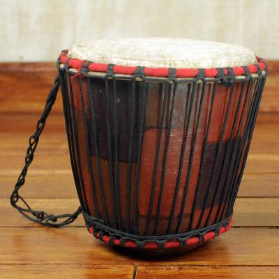Wood bongo drum, 'Dramatic' - Handcrafted Tweneboa Wood Bongo Drum from Ghana