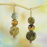Tiger's eye and soapstone dangle earrings, 'Stormy Eyes'