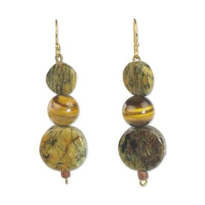 Tiger's eye and soapstone dangle earrings, 'Stormy Eyes' - Tiger's Eye and Soapstone Dangle Earrings from Ghana