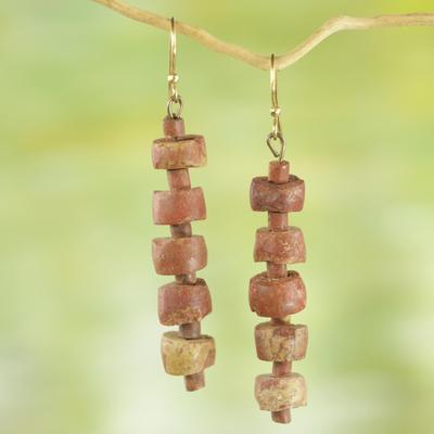 Bauxite dangle earrings, 'Virtuous Abotari' - Rustic Bauxite Dangle Earrings from Ghana