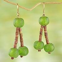 Recycled glass beaded dangle earrings, 'Green Glory' - Recycled Glass and Bauxite Dangle Earrings from Ghana