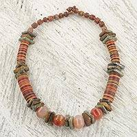 Soapstone beaded necklace, 'Earthen Contours'