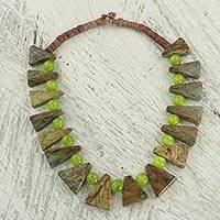 Cat's eye beaded necklace, 'Earthen Mane' - Cat's Eye Soapstone and Bauxite Beaded Necklace from Ghana