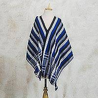 Cotton kente cloth shawl, 'Textured Delft Blue' - Blue Black and White Hand Woven 100% Cotton Kente Shawl