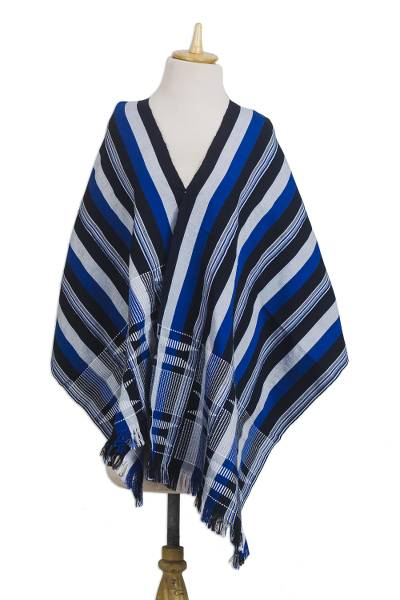 Cotton kente cloth shawl, 'Textured Delft Blue' - Blue Black and White Hand Woven 100% Cotton Kente Shawl