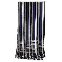 Cotton kente cloth scarf, 'Textured Lapis Blue'