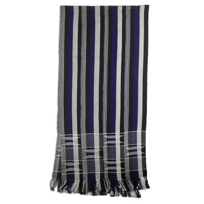 Cotton kente cloth scarf, 'Textured Lapis Blue' - Cotton Kente Scarf Handwoven in Blue Black and White Stripes