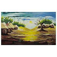 'Day Break' - Impressionist Signed Painting of a Village Scene from Ghana