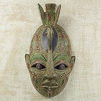 African wood mask, 'Daring Warrior' - Multicolored Hand Carved African Wood Wall Mask with Dove