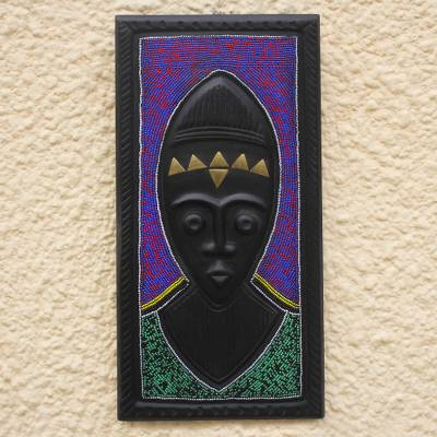 Original African Wood Wall Art With Glass Bead Accents Dagomba