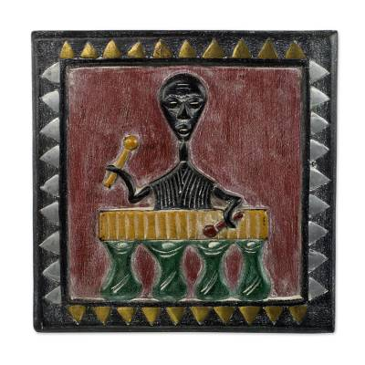 Original African Wood Wall Accent Of Man Playing Xylophone Xylophone Musician