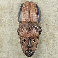 African wood mask, 'Mamprusi' - Hand Crafted West African Wood Wall Mask with Brass Plating