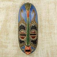 African wood mask, 'Giraffe Art' - Giraffes and Bird on African Wall Mask Hand Carved Wood Art