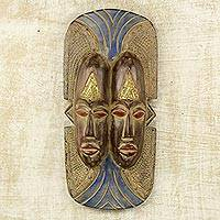 African wood mask, 'Nduka Is Life' - Two Faces One African Mask Weathered Wood Hand Carved Art