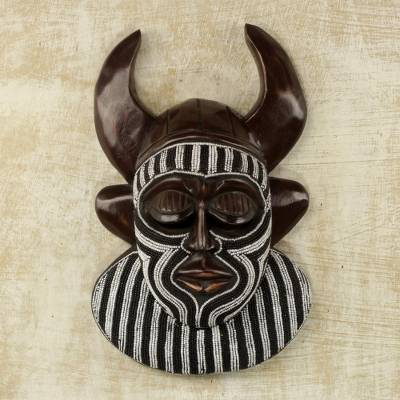 African beaded wood mask, 'Kafo Horns' - Black and White Beaded African Wood Horn Wall Mask of Power