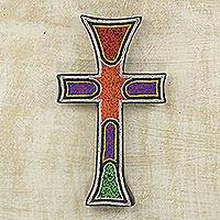 Beaded wood cross, 'Bless My Home'