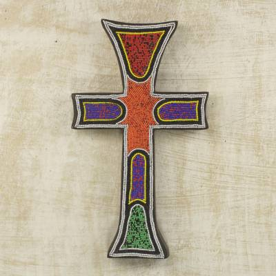 Beaded wood cross, 'Bless My Home' - Byzantine Style Beaded Wood Wall Cross Hand Crafted in Ghana