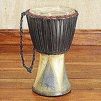 Wood djembe drum, 'Come Together in Peace'
