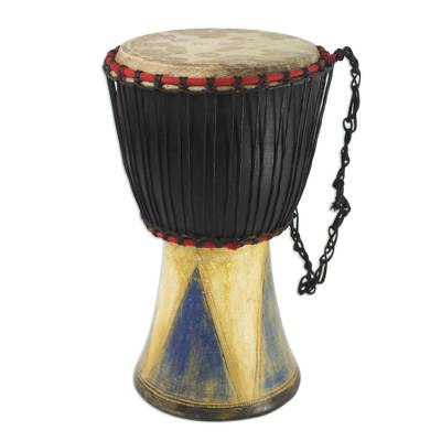 Wood djembe drum, 'Come Together in Peace' - Authentic Traditional Djembe Drum Hand Crafted in Ghana