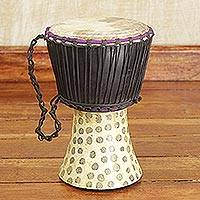 Wood djembe drum, 'Dance Together' - Genuine Traditional Djembe Drum Hand Crafted in Ghana