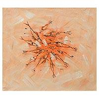'Family' - Signed Modern Freestyle Painting of Fish in Peach and Orange