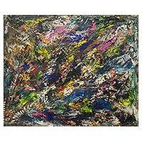 'The Beginning of Creation' - Artistic Signed Multicolored Abstract Painting from Ghana