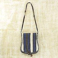 Cotton and leather accent shoulder bag, 'Bawku Splendor' - Azure on Off White Stripes Cotton Shoulder Bag with Leather