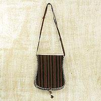 Cotton and leather accent shoulder bag, 'Bawku Mystique' - Brown and Black Stripe Cotton Shoulder Bag with Leather