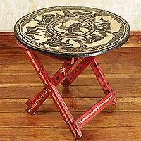 Wood folding table, 'African Grasslands' - Sese Wood Ghanaian Folding Table with Elephants and Gazelles