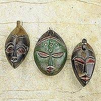 African wood masks 'Messengers of Justice' (set of 3) - Set of Three Sese Wood African Masks Handmade in Ghana