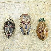African wood masks, 'Wisdom and Happiness' (set of 3) - Set of 3 Sese Wood African Masks Handcrafted in Ghana