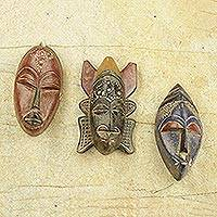 African wood masks, 'Mawunyo' (set of 3)