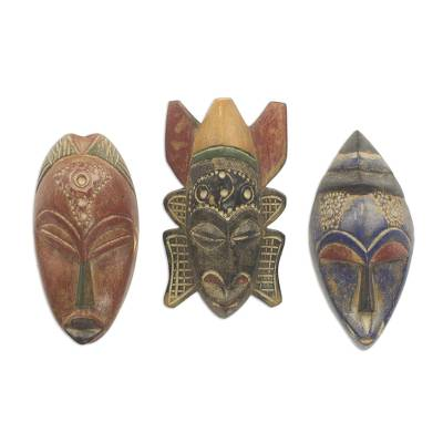 African wood masks, 'Mawunyo' (set of 3) - Set of 3 Authentic African Masks Handcrafted in Ghana