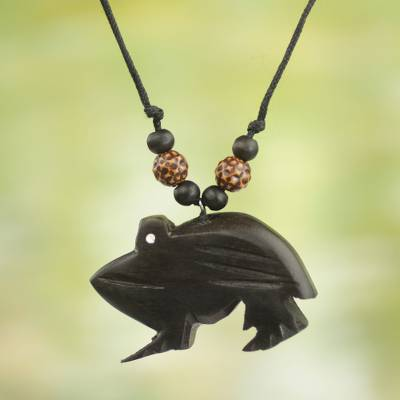 Wood pendant necklace, 'Charming Frog' - Handcrafted Sese Wood Frog Pendant Necklace from Ghana