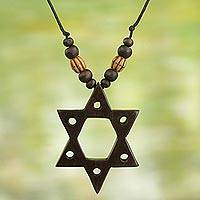 Wood pendant necklace, 'Star of David' - Star of David Hand Crafted Wood Pendant Necklace from Ghana