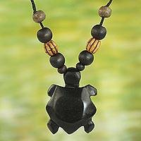 Wood and bamboo pendant necklace, 'Longevity Tortoise' - Sese Wood and Bamboo Tortoise Pendant Necklace from Ghana