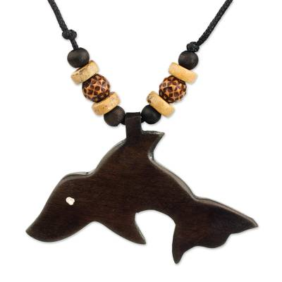 Mighty Lion Artisan Crafted Wood Pendant Necklace from Ghana