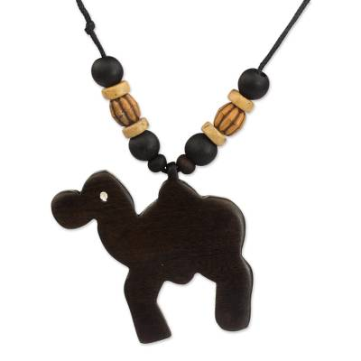 Artisan Crafted Camel Wood Pendant Necklace from Ghana