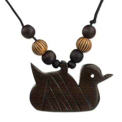 Artisan Crafted Serene Duck Wood Pendant Necklace from Ghana