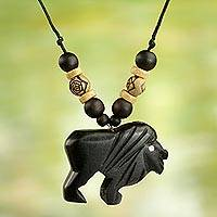Wood pendant necklace, 'Mighty Lion'