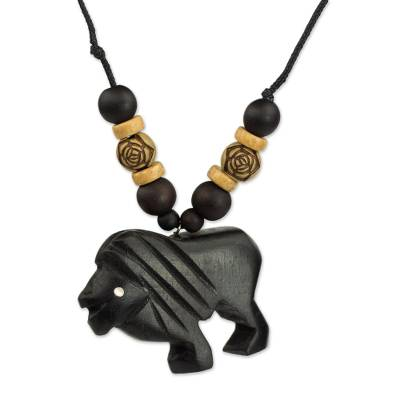 Wood pendant necklace, 'Mighty Lion' - Artisan Crafted Mighty Lion Wood Pendant Necklace from Ghana