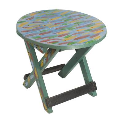 Sese wood folding table, 'School of Fishes' - Ghana Hand Crafted and Painted Sese Wood Fish Folding Table