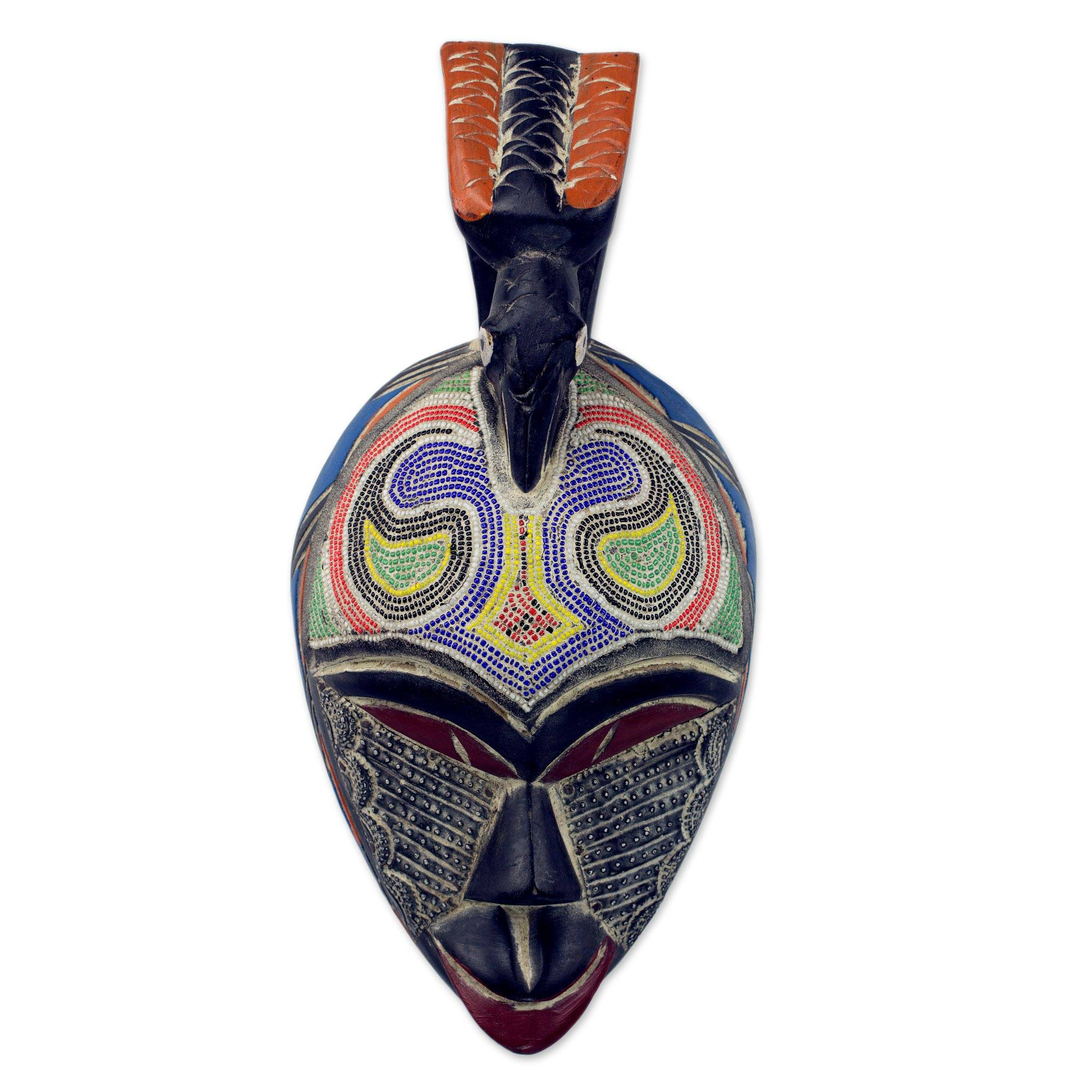 Unicef Uk Market Recycled Glass And Wood Beaded African Wall Mask With Bird Friendly Dove