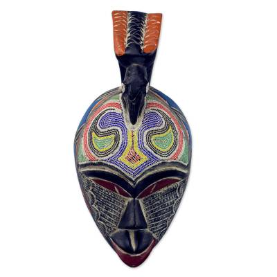African beaded wood mask, 'Friendly Dove' - Recycled Glass and Wood Beaded African Wall Mask with Bird
